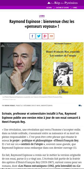 La République des Pyrénées – Décembre 2018