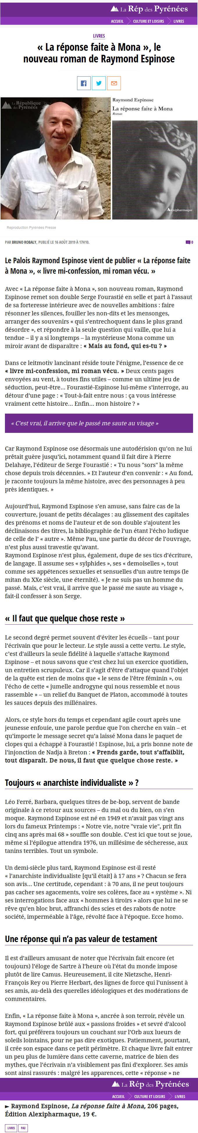 La République des Pyrénées – Août 2019